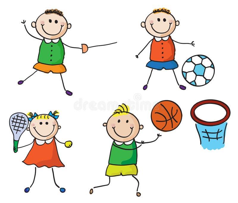 Sportungar vektor illustrationer