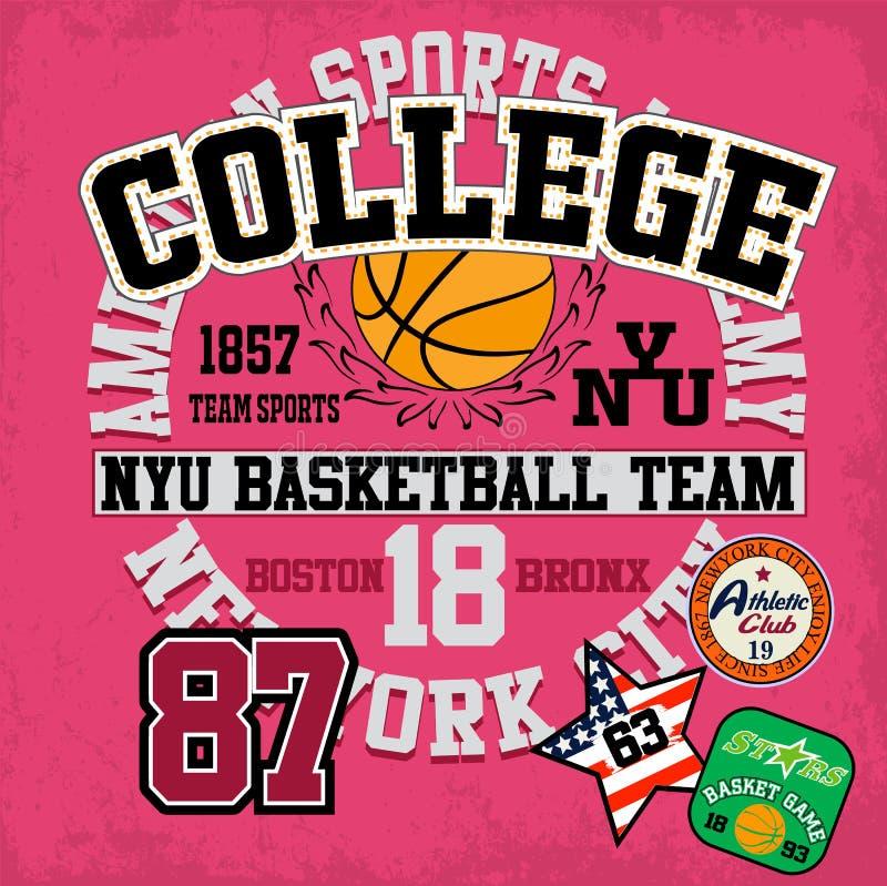 Sportuniversiteit opleidingstypografie, t-shirtgrafiek, vectoren vector illustratie
