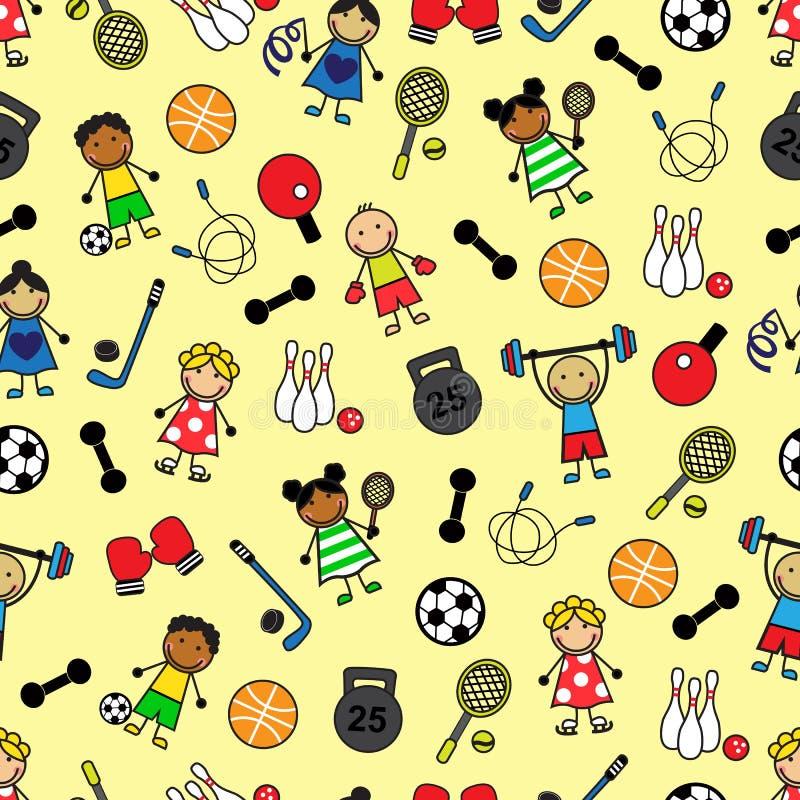 Sportutrustning och barn stock illustrationer