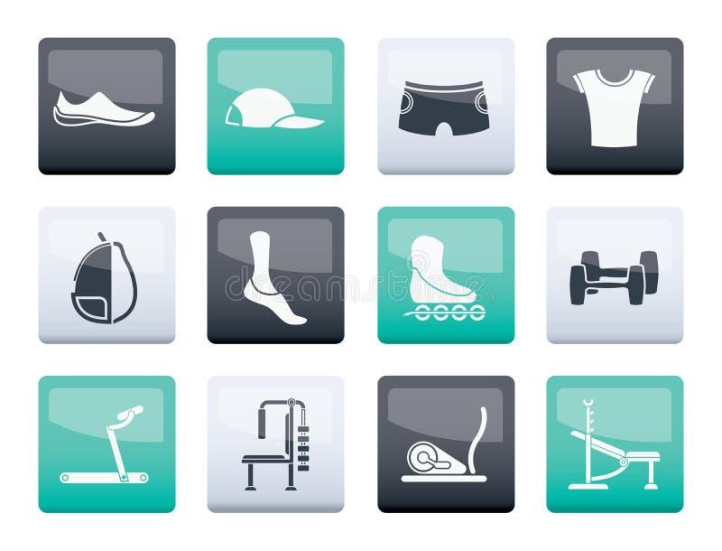 Sportutrustning och objektsymboler över färgbakgrund stock illustrationer