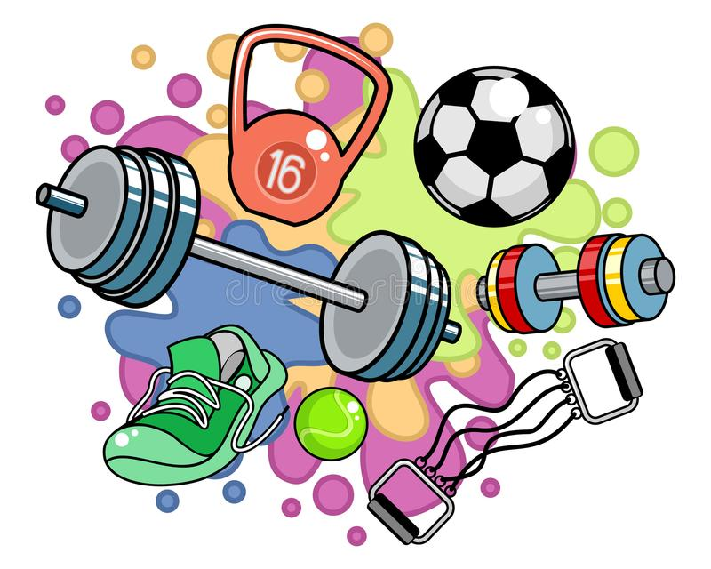 Sportutrustning på kulör bakgrund royaltyfri illustrationer