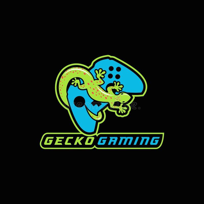 Sportvektor-Entwurfsillustration des Geckokonsolenlogos e vektor abbildung
