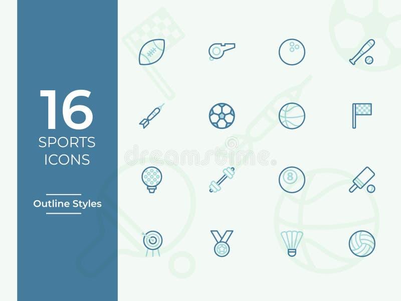 Sportvektorsymbol, sportsymbol, enkel översikt, översiktsvektorsymboler vektor illustrationer