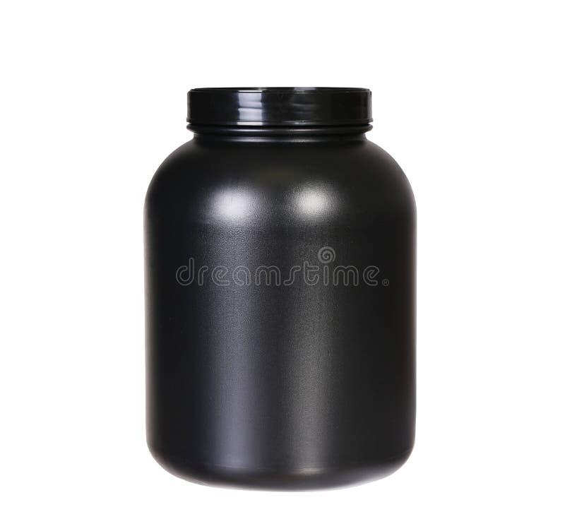 Sportvoeding, Weiproteïne of Gainer. Zwarte Plastic Kruik royalty-vrije stock afbeeldingen
