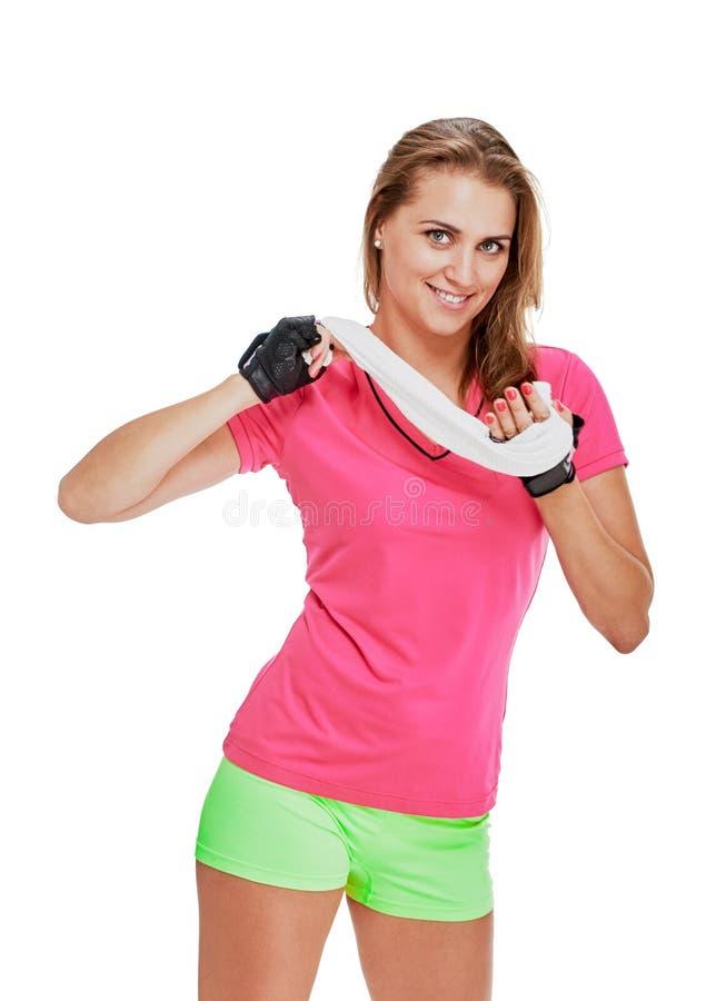 Sportvrouw die rust nemen royalty-vrije stock foto's