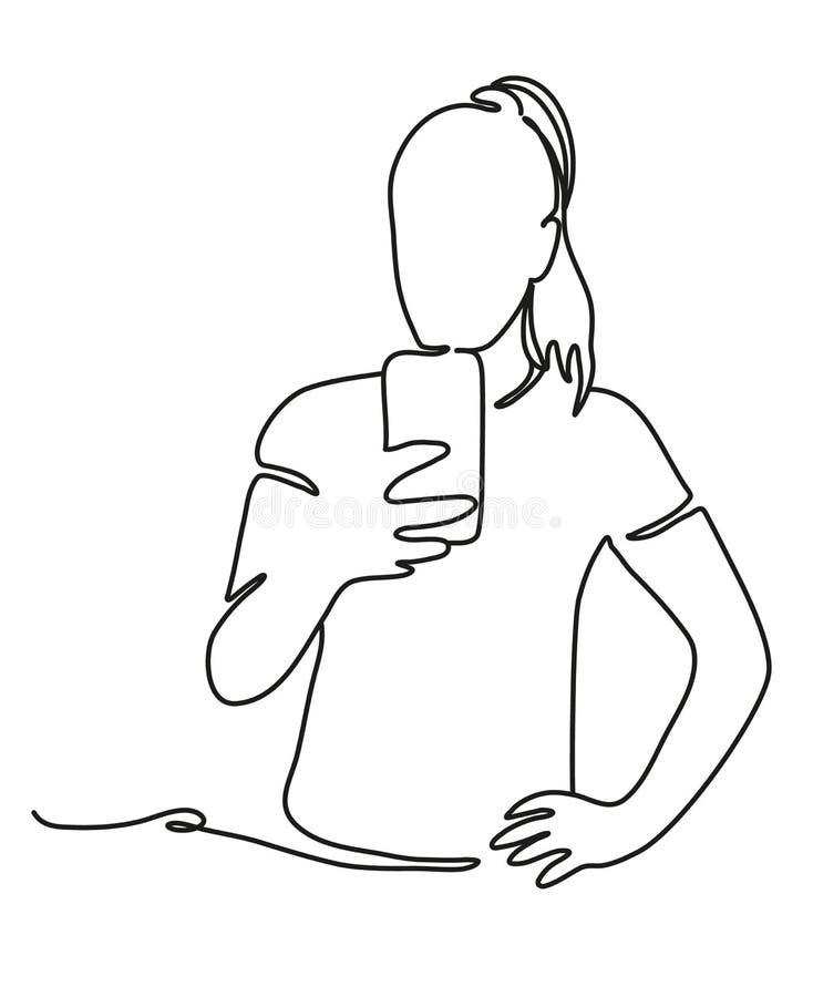 Sportvrouw die zelfbeeld met smartphonecamera nemen Ononderbroken lijntekening Ge?soleerde witte achtergrond Vector stock illustratie