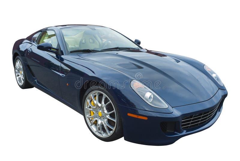 Sportwagen in donkerblauw, geïsoleerd royalty-vrije stock afbeelding