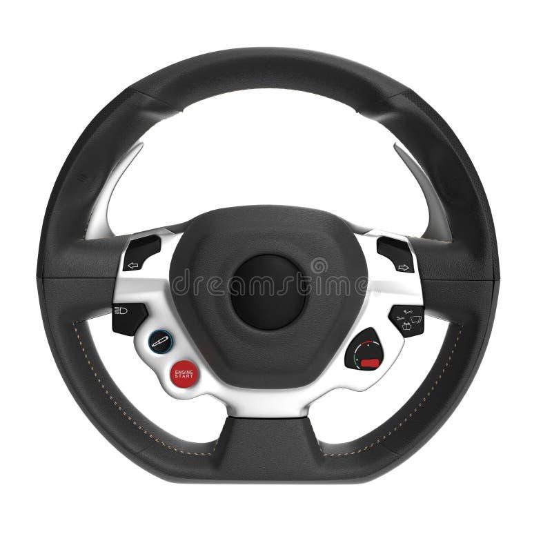 Sportwagen-Lenkrad auf Weiß Front View Abbildung 3D vektor abbildung