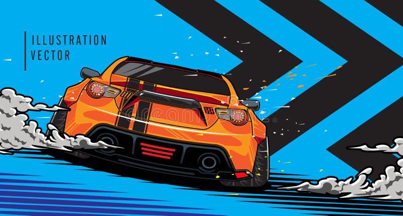 Sportwagen op de weg Het moderne en snelle voertuig rennen Super grafisch ontwerpconcept luxeauto Vector illustratie stock illustratie