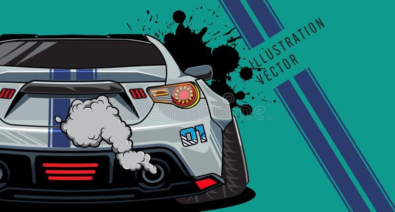 Sportwagen op de weg Het moderne en snelle voertuig rennen Super ontwerpconcept luxeauto Vector illustratie royalty-vrije illustratie