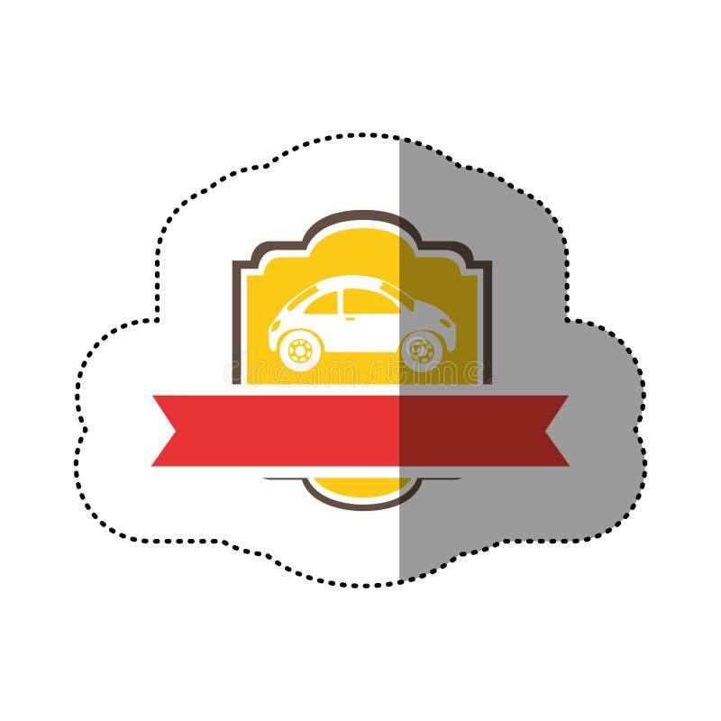 sportwagen op gele achtergrond en heraldisch kader met rood lint vector illustratie