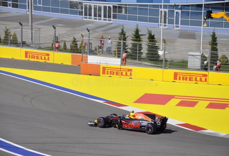 Sportwagen op het spoor tijdens de verzameling, Formule 1 Grand Prix van Rusland 2017 royalty-vrije stock fotografie