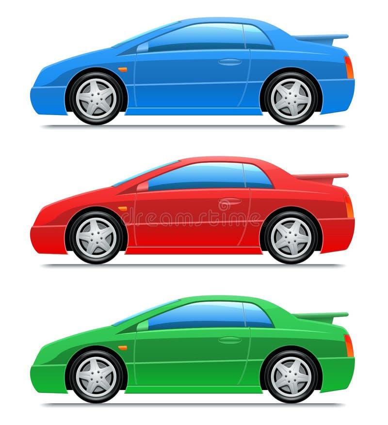 Sportwagen. Vector pictogrammen stock illustratie
