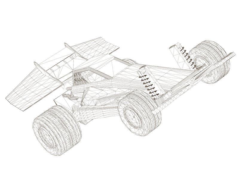 Sportwagen Wireframe Perspektive Maschineller Rahmen aus schwarzen Linien, isoliert auf weißem Grund 3D lizenzfreie abbildung