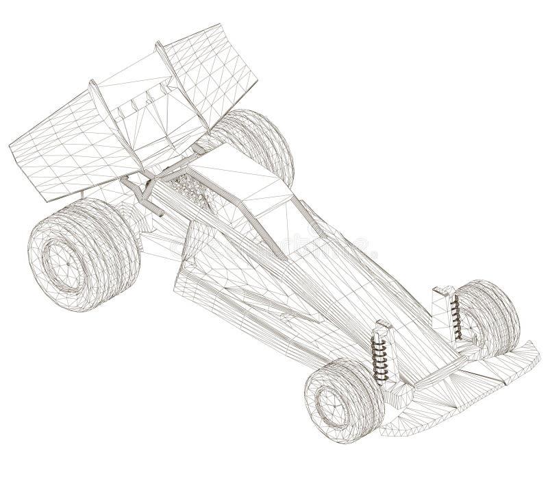 Sportwagen Wrieframe isometrisch Maschineller Rahmen aus schwarzen Linien, isoliert auf weißem Grund 3D-Vektor vektor abbildung