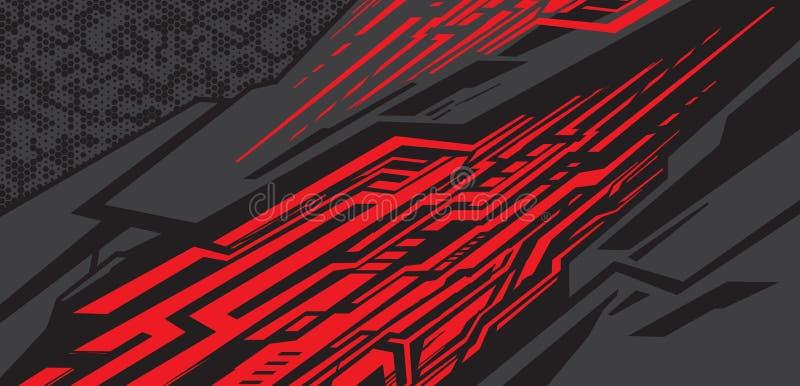 Sportwagenabziehbildverpackungs-Entwurfsvektor Hintergrund-Ausrüstungsentwürfe des grafischen abstrakten Streifens laufende für F vektor abbildung