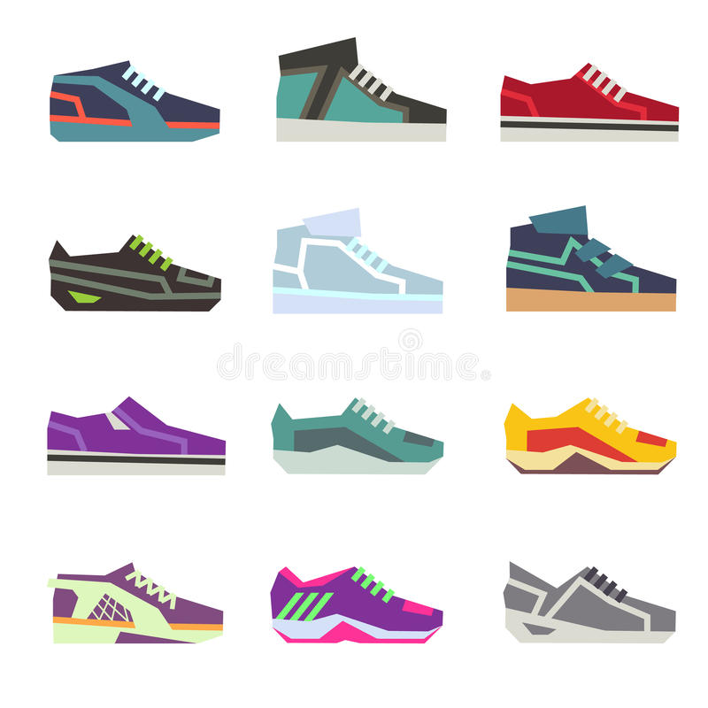 Sportwear shoes, different footwear sport flat vector set royalty free illustration