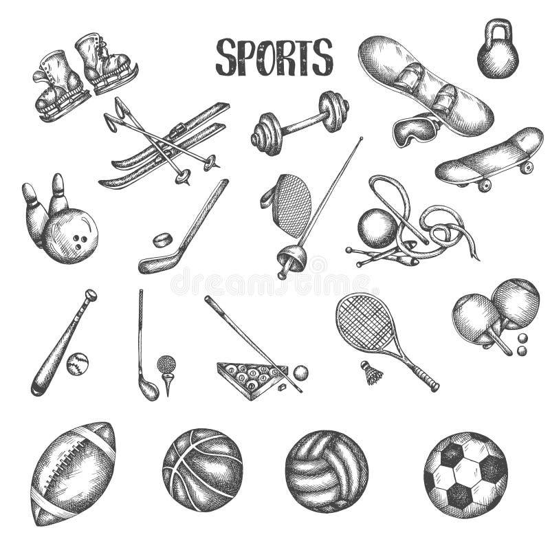 Sportweinlesehandgezogene Vektorillustrationen Sport- und Eignungsgekritzelsatz Skizzenikonen im Retrostil Euipment vektor abbildung