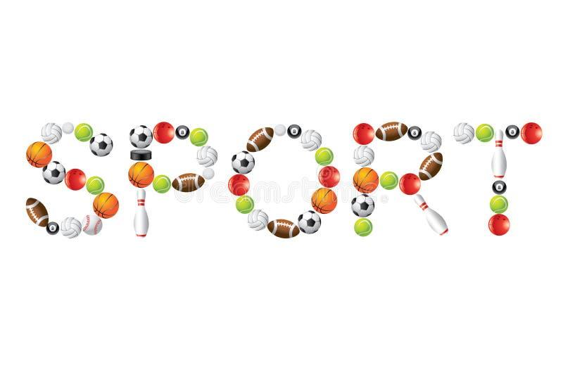 Sportwoord van ballen  stock illustratie