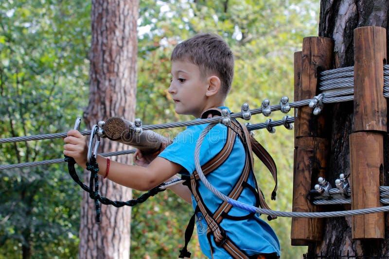 Sporty żartują w lasowej chłopiec bawić się krańcowego ruchu w dużej wysokości zdjęcie stock