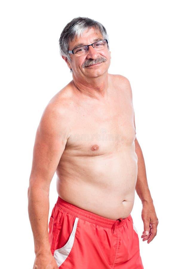 Sporty без рубашки старший человек стоковое фото