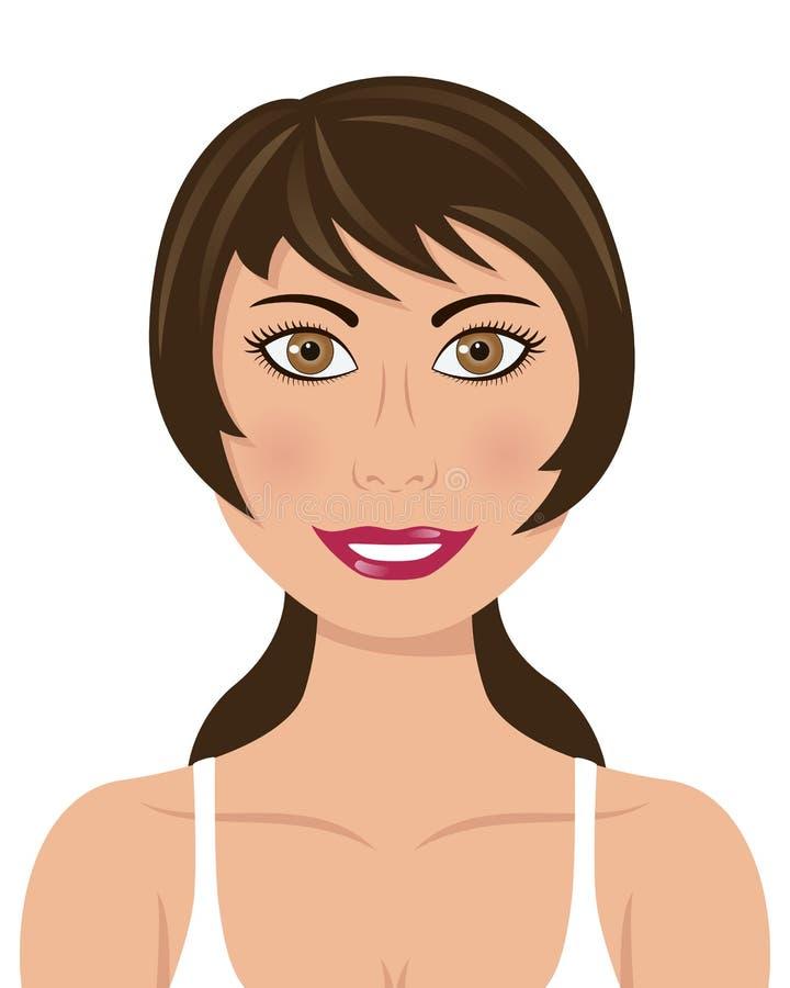 Sporty женщина с глазами Брайна волос Брайна иллюстрация вектора