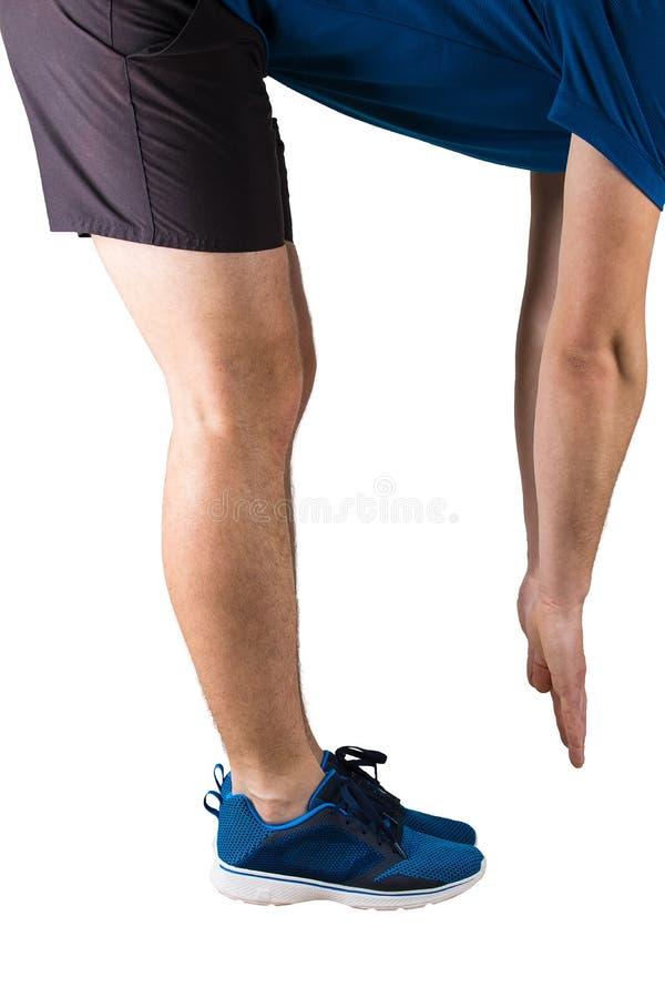 Sporty спортсмен человека делая нагревающ тренировки и спортзал перед ходом Тренировка фитнеса и протягивать мышцы изолированный  стоковая фотография rf
