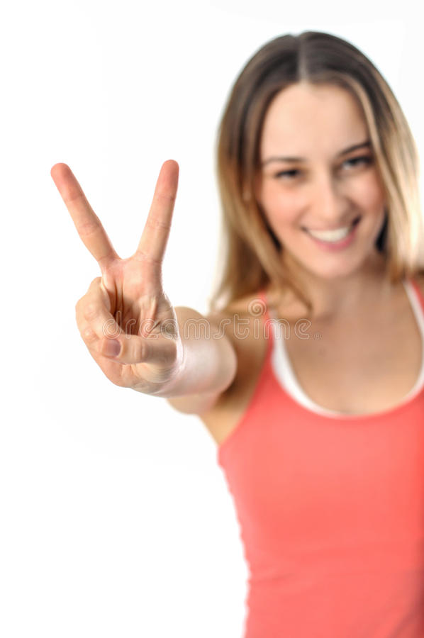 Sporty Aerobics Girl Signing Victory stock photos