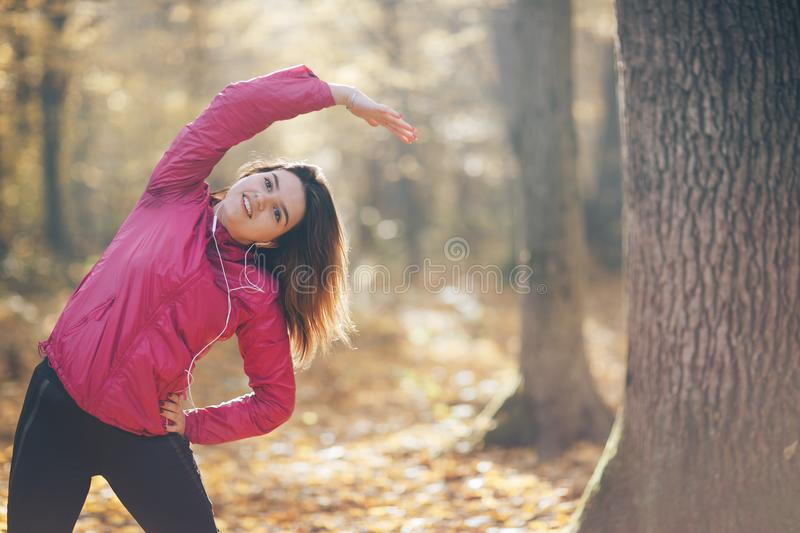 Sporty beautiful woman on fitness workout royalty free stock photography