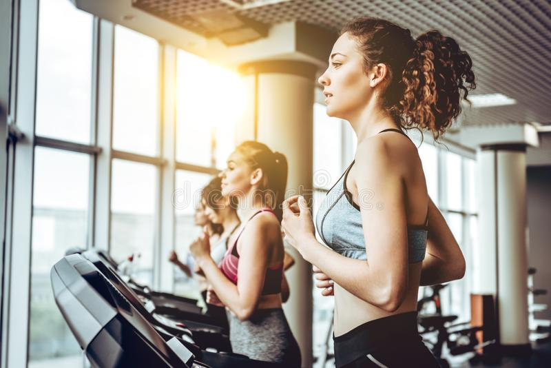 Beautiful young cheerful woman in sportswear running on treadmill at gym with other women. royalty free stock photos