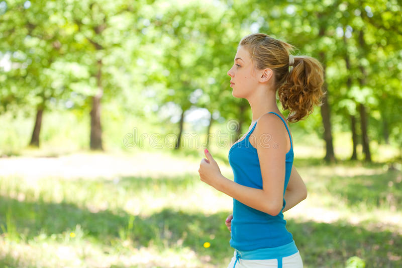 Download Sporty Blonde Girl Doing Fitness Outdoor Stock Image - Image: 10293923