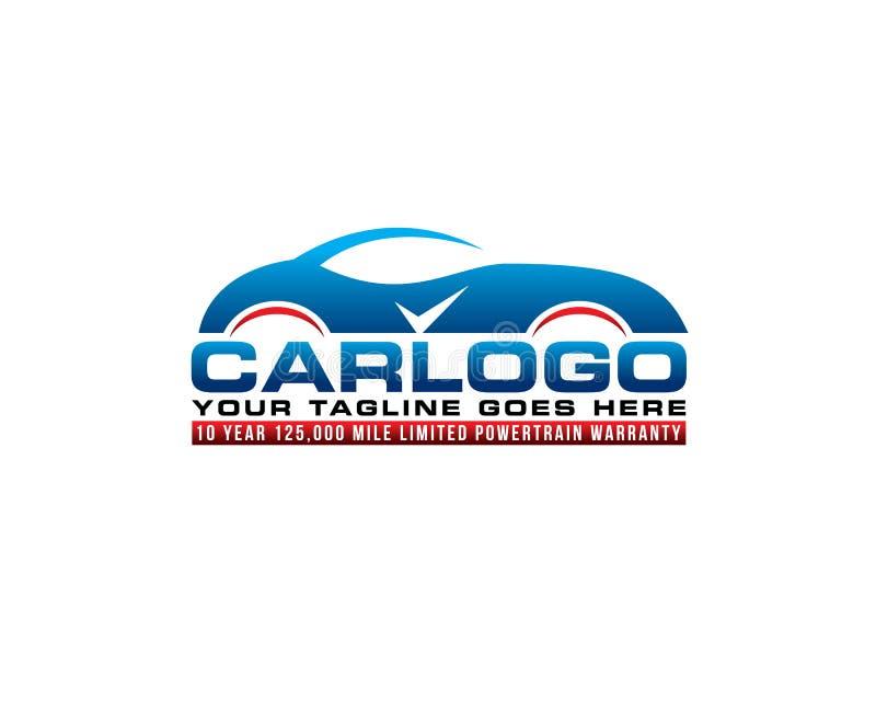Sporty car auto mobile care accessories logo emblem style. Sporty blue car auto mobile care accessories logo emblem style stock illustration