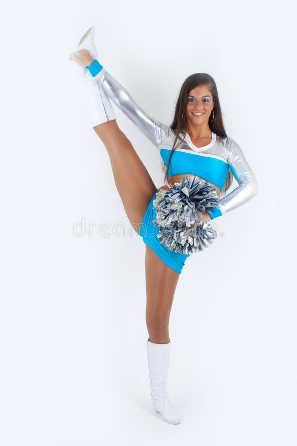 Sporty cheerleader with pom-poms.