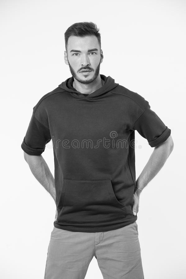 Sporty concept. Sporty man. Young man with sporty look. Man in sporty wear. Be free, black and white royalty free stock images