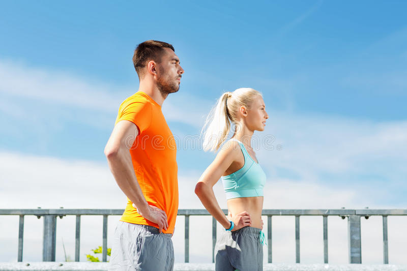 Sporty couple outdoors stock image