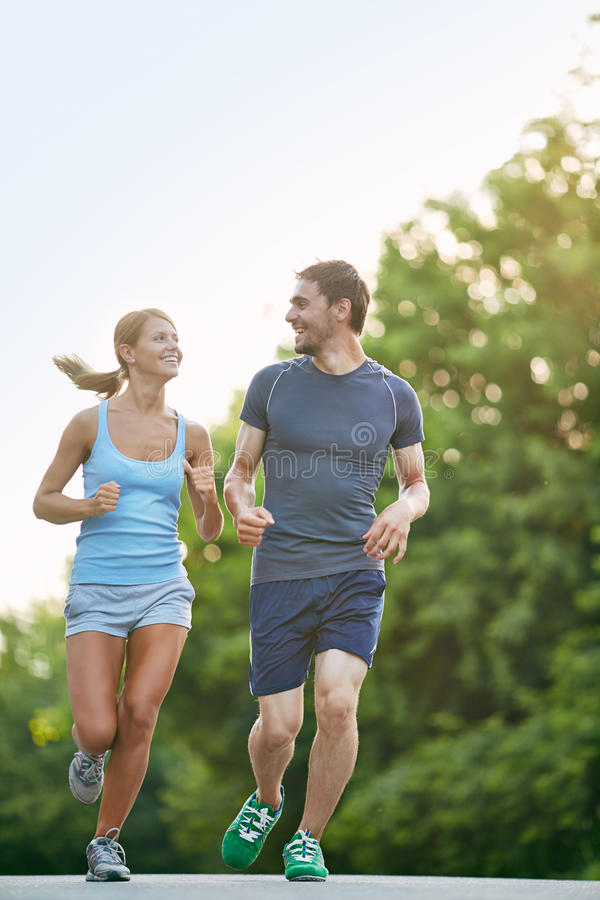 Sporty couple stock images