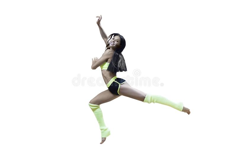 Sporty dancing girl in yellow and black outfit isolated on white. Gymnastics art. Happy smiling female dancer doing royalty free stock photo