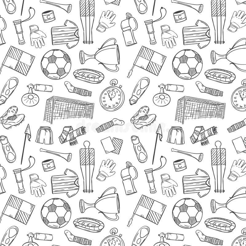 Sporty Deseniują Z piłką nożną, Futbolowymi symbolami w ręka remisu stylu/ ilustracja wektor