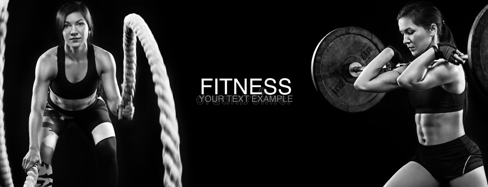 Sporty and fit women with dumbbell and battle rope exercising at black background to stay fit. Workout and fitness royalty free stock photography