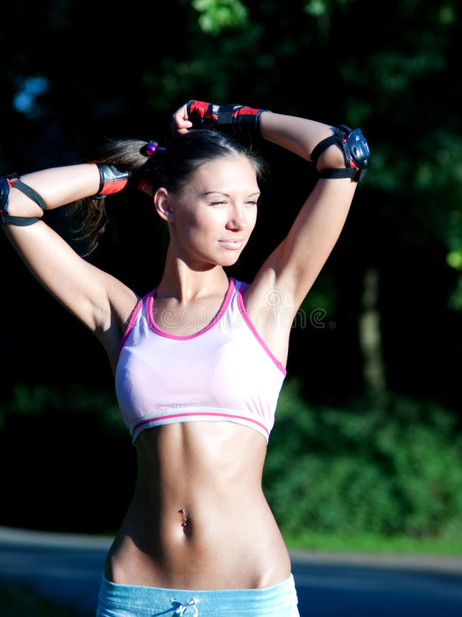 Download Sporty girl stock image. Image of happy, outdoor, female - 15124403