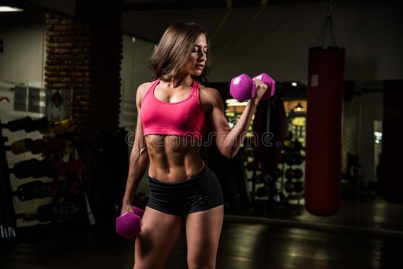 Sporty girl in fitness hall with two dumbbells, one dumbbell holds on the arm bent for the biceps workout. royalty free stock photography