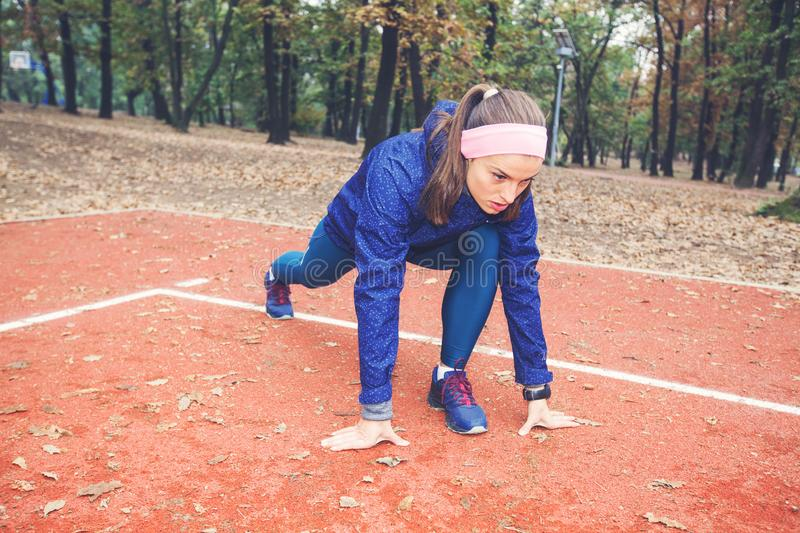 Sporty Girl Practicing Outdoor royalty free stock photography