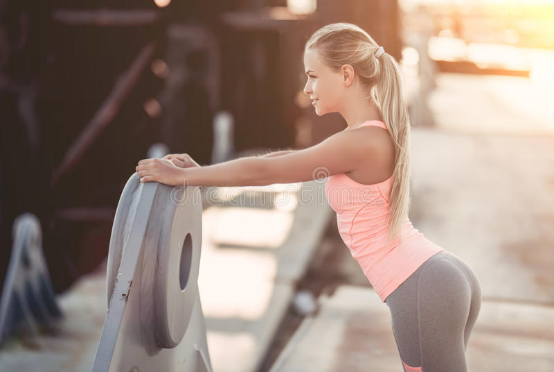 Sporty girl on street stock photo