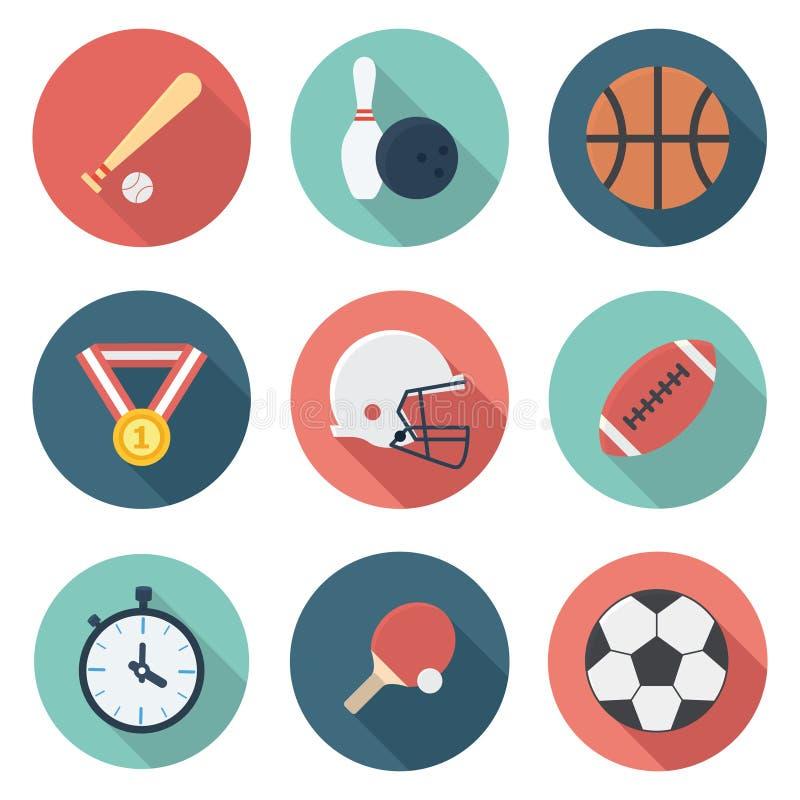 Sporty i atlety przekładnia Płaskie ikony Ustawiać fotografia stock