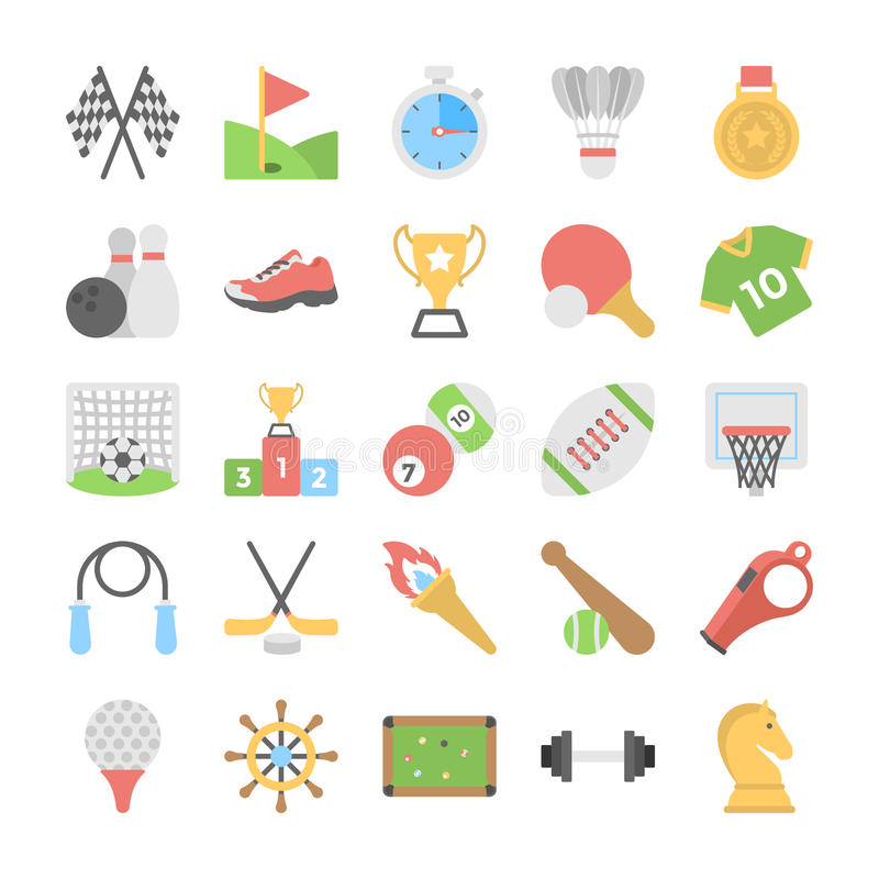 Sporty i gry mieszkania Barwione ikony ilustracji