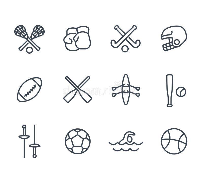 Sporty i gry wykładają ikony na bielu royalty ilustracja