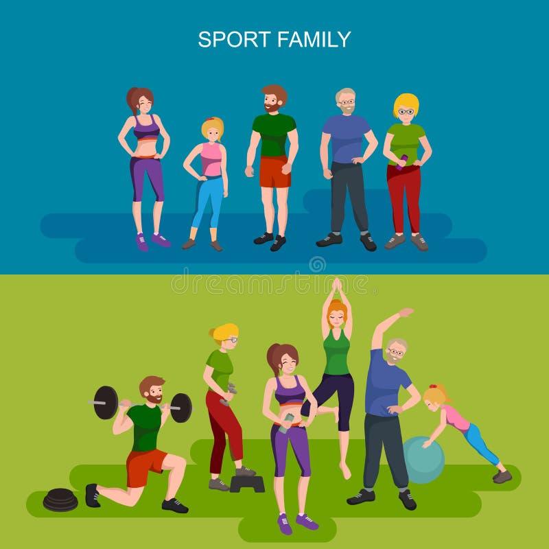 Sporty i sprawności fizycznych ludzie, Zdrowa rodzinna wektorowa ilustracja ilustracji