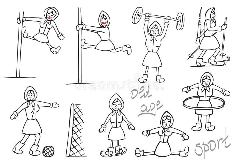 Sporty i starość royalty ilustracja