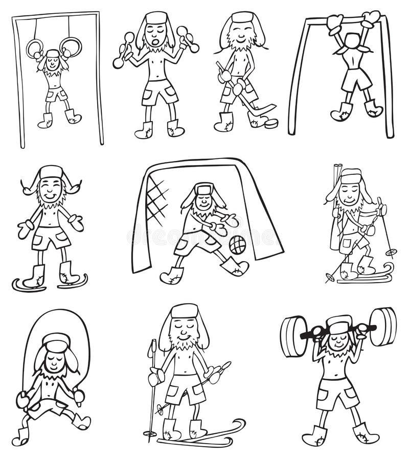 Sporty i stary człowiek ilustracji