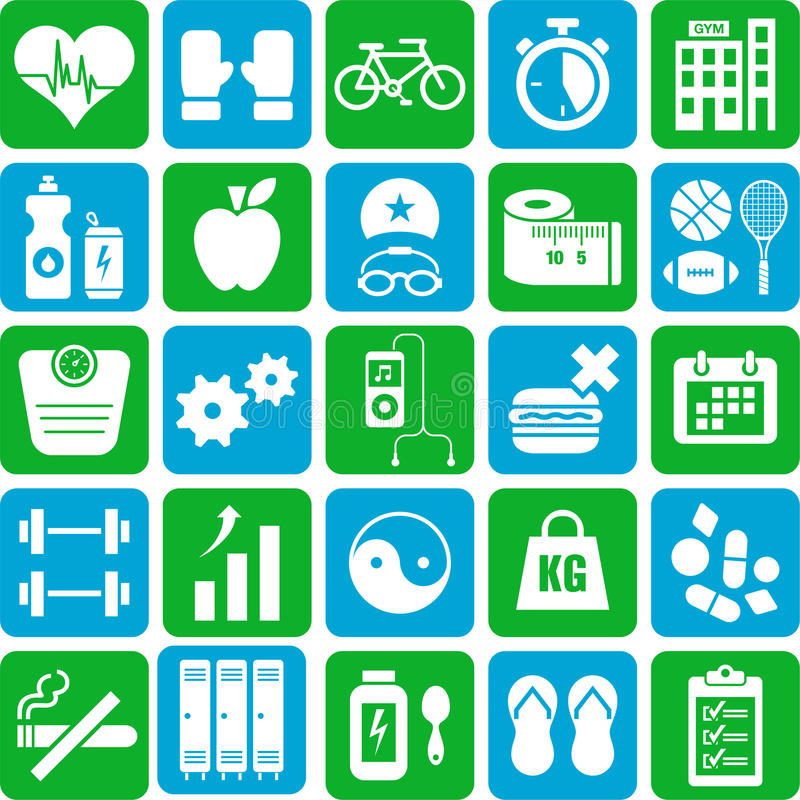 Sporty i zdrowie ikony ilustracja wektor